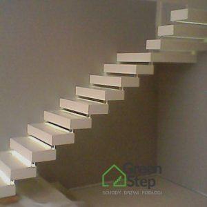 Stylowe schody półkowe białe